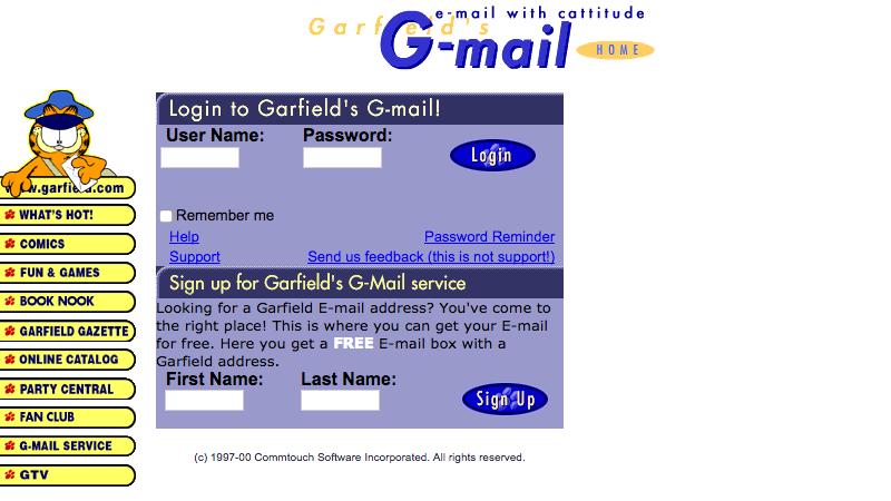 El correo original de Gmail era Garfield
