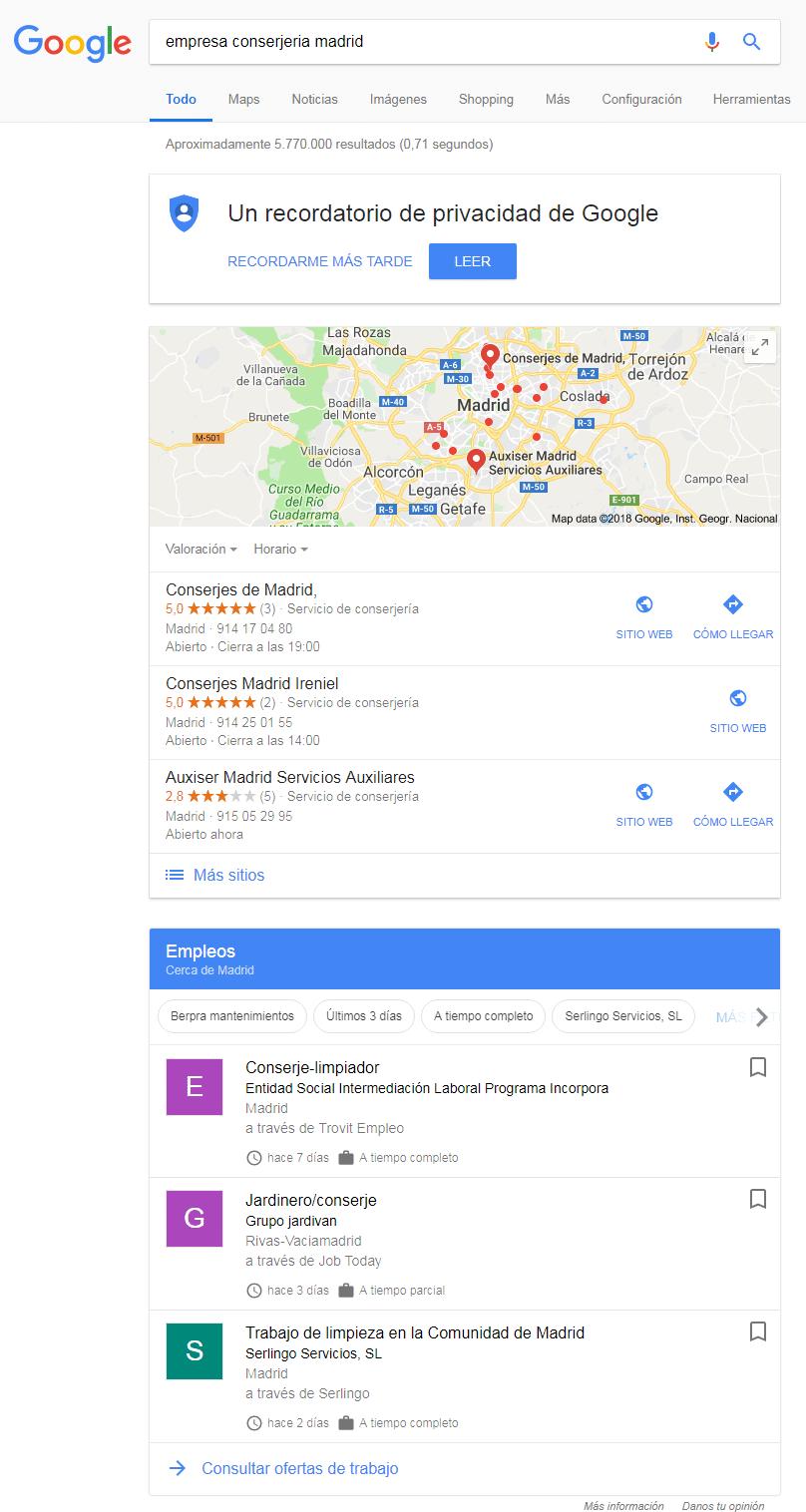 Resultados de Google Jobs en primera página