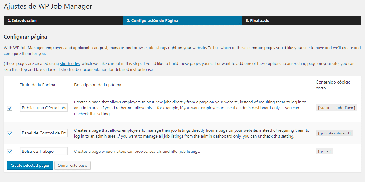 Configurar WP Job Manager paso 2